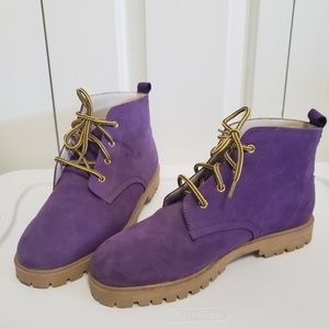 Vtg 90's Chinese Laundry Purple Leather Boots